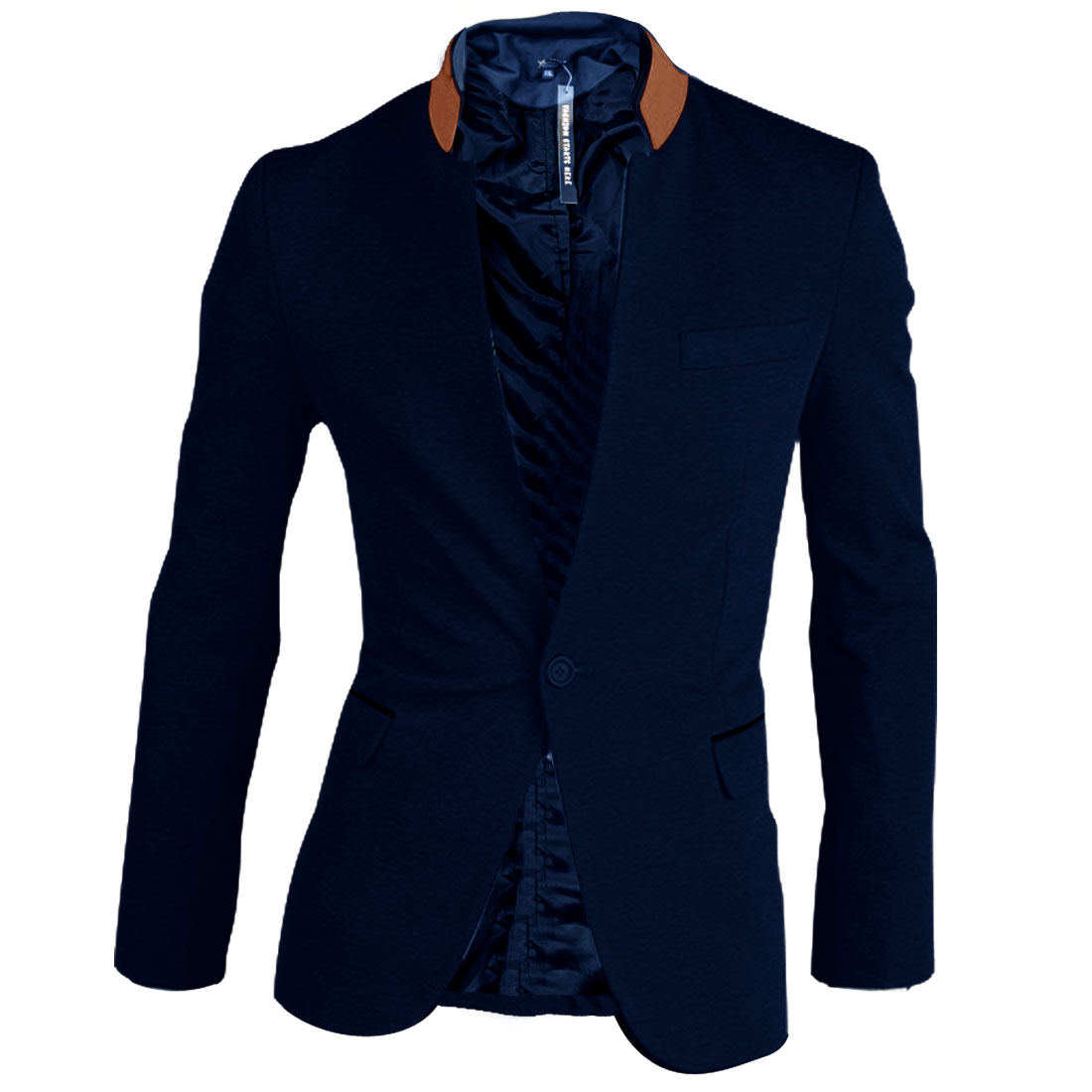 Men Dark Blue Flap Pockets Front Single Button Long Sleeve Blazer L