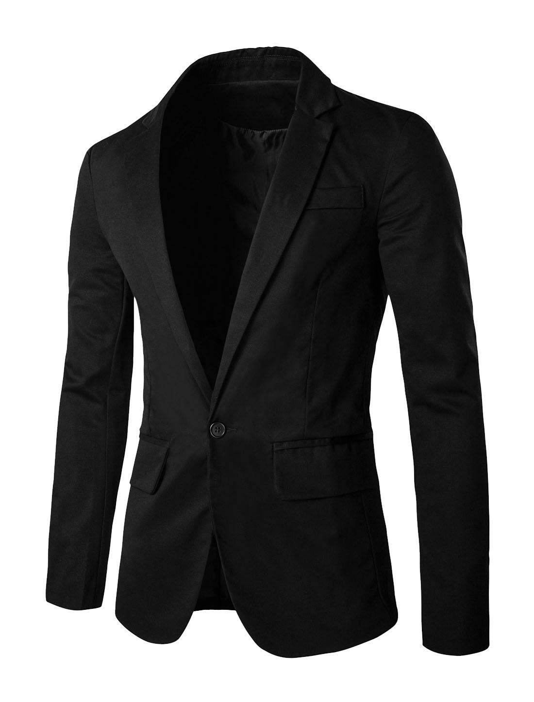 Men Notched Lapel One Button Closure Flap Pockets Casual Blazer Black M