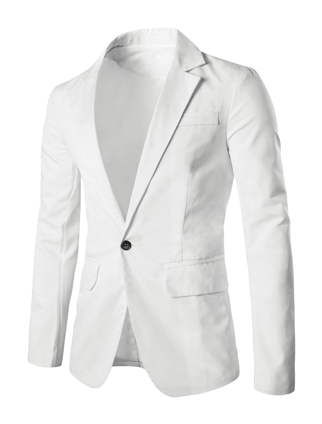 Men Notched Lapel One Patch Chest Pocket Autumn Blazer White M