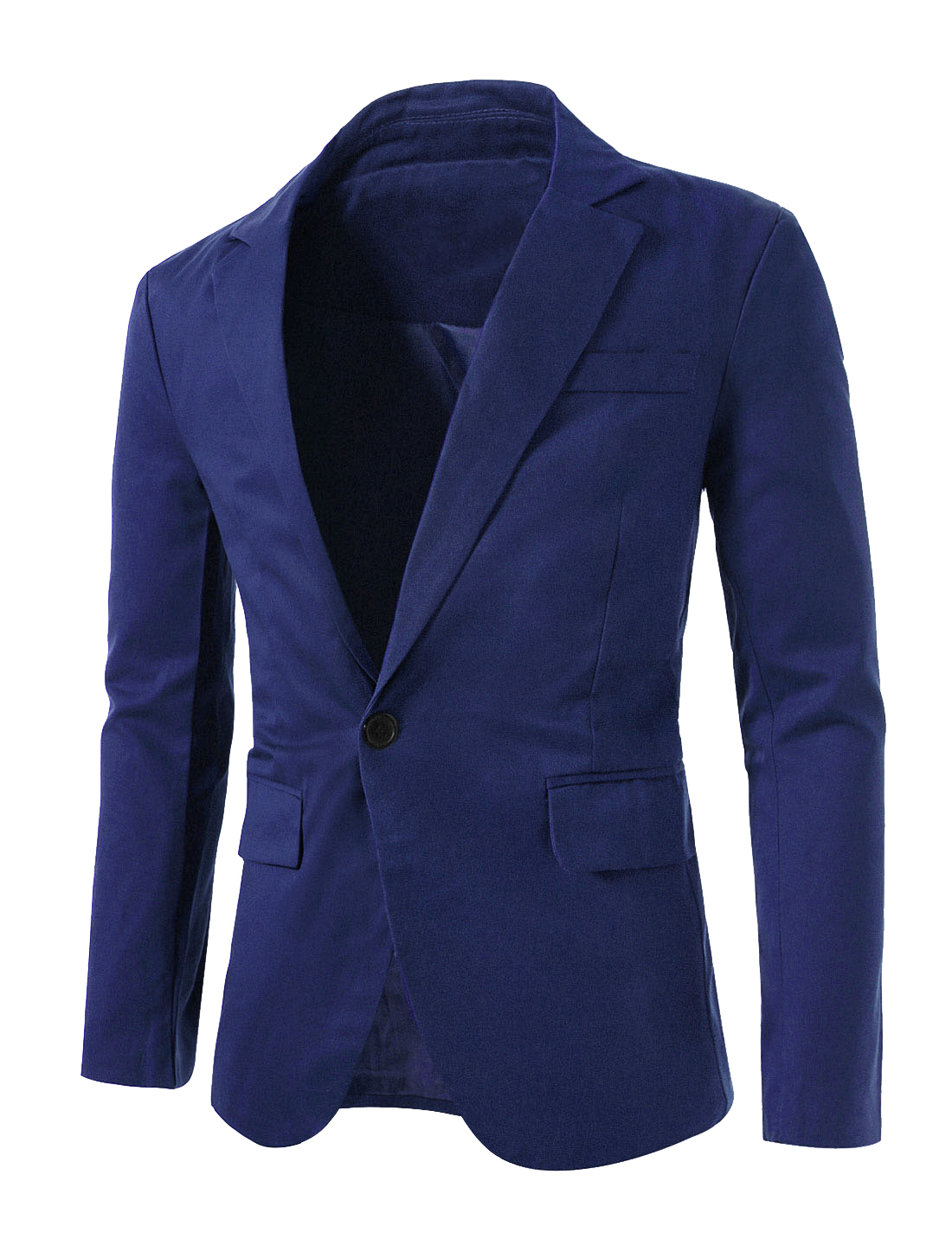 Mens Blue Long Sleeves Single Chest Pocket Fashional Blazer M