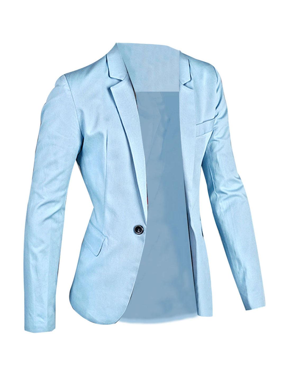 Mens Light Blue Side Flap Pcokets Notched Lapel Autumn Blazer M