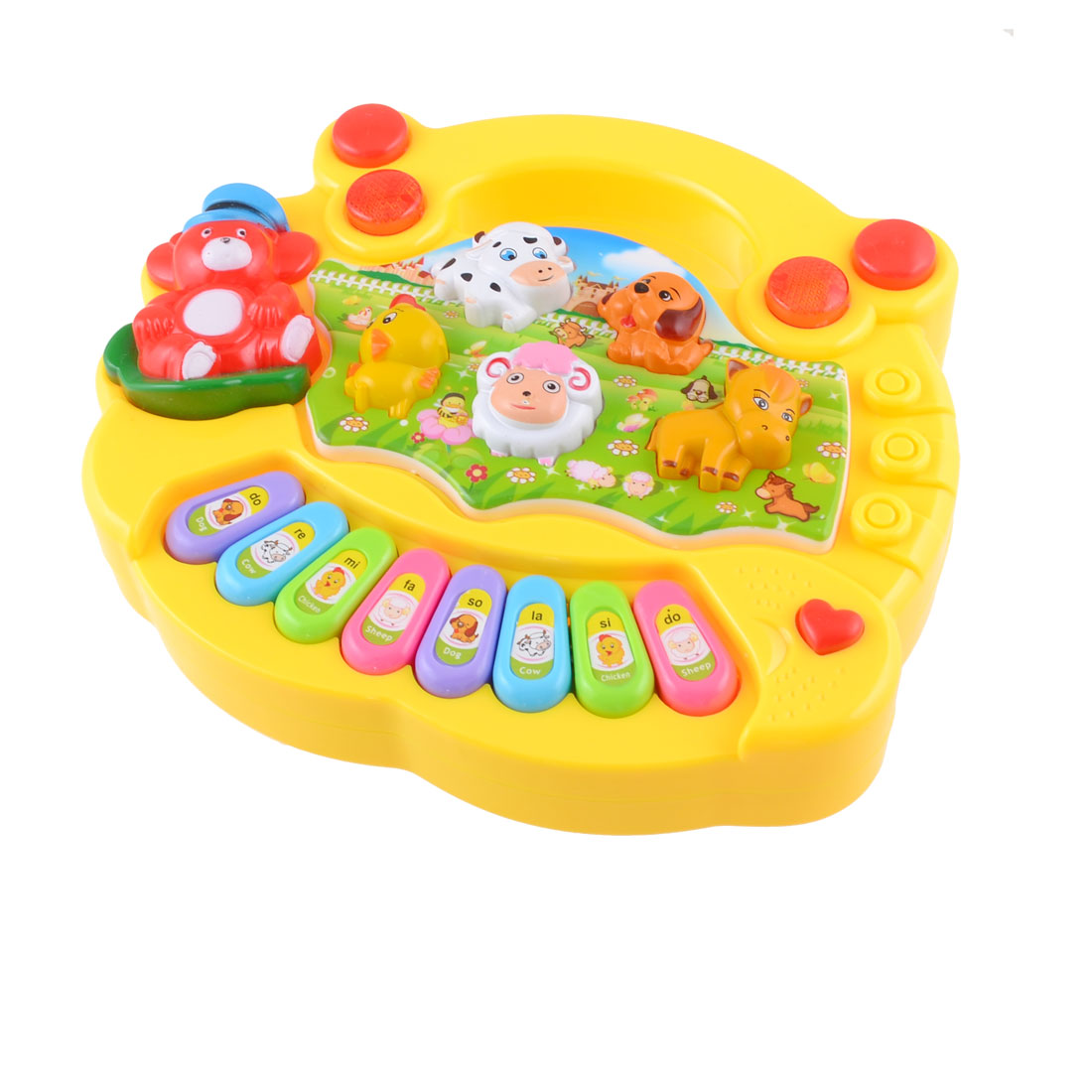 Toddler Baby Handheld Red LED Light Plastic 8 Keys 5 Animal Suond Electric Organ Toy