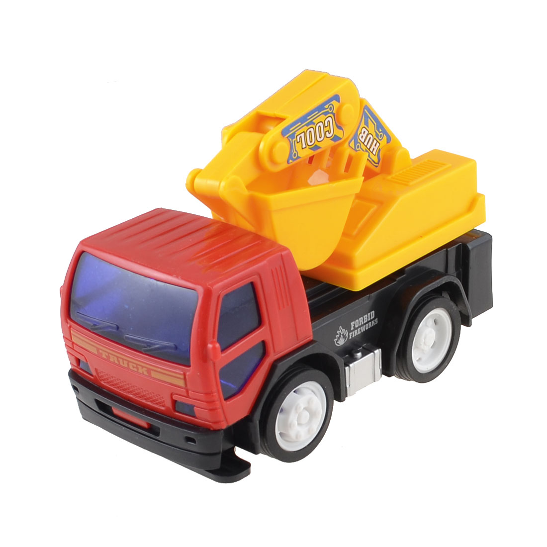 Yellow Red Inertia Plastic Digger Excavator Truck Engineering Car Toy for Kid