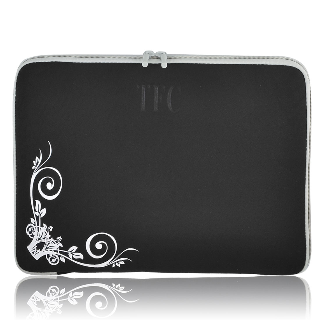 "14"" 14.1"" 14.4"" Black White Floral Flowers Notebook Laptop Sleeve Bag Case for Lenovo"