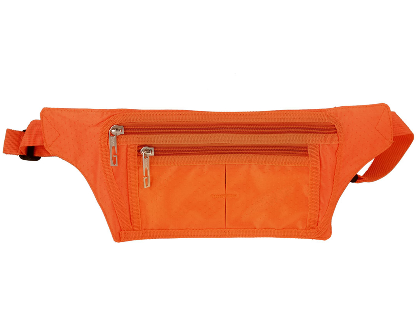 Lady Adjustable Strap Zip up 3 Compartments Patch Pocket Waist Bag Pack Orange