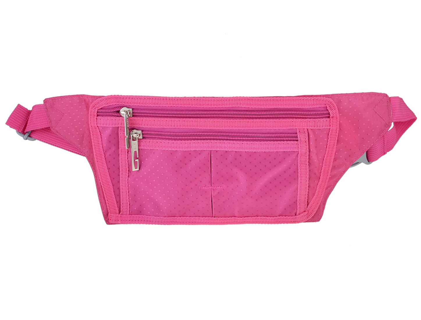Women Side Release Buckle Zippers 3 Compartments Pockets Waist Bag Fanny Pack Fuchsia