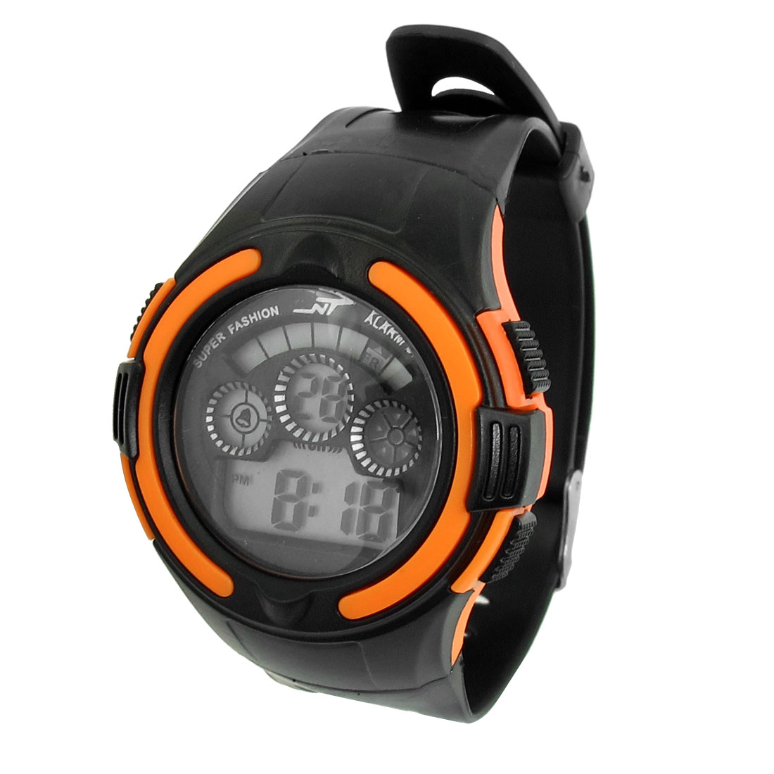 Men LCD Display Adjstable Band Stopwatch Alarm Sport Watch Black Orange