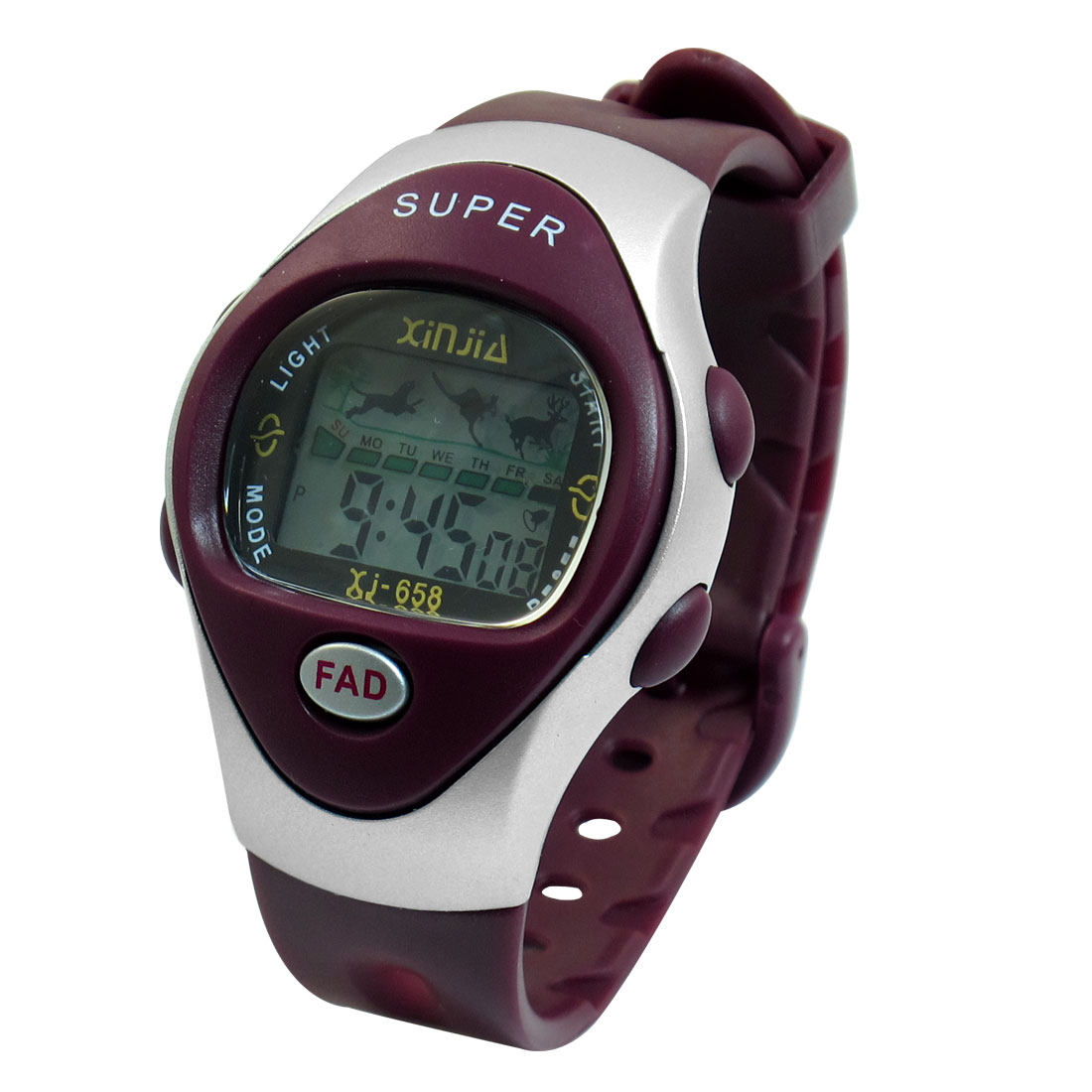 Woman 11 Holes LCD Display Adjstable Band Stopwatch Alarm Sport Watch Burgundy
