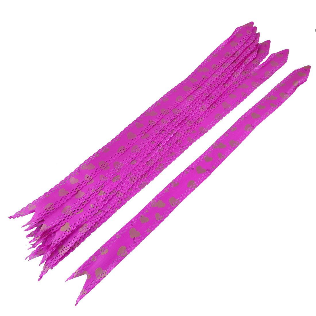 10 Pcs Wedding Gift Wrap Heart Pattern Bowtie Design DIY Pull Bow Ribbons Fuchsia