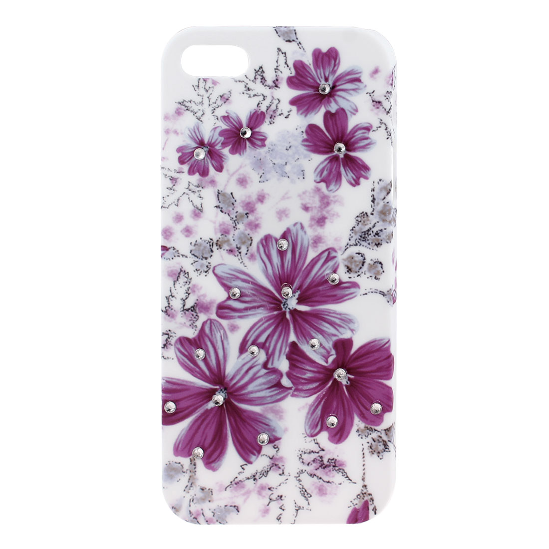 Glitter Rhinestone Decor Violet Flower Hard Back Case Cover White for iPhone 5 5G