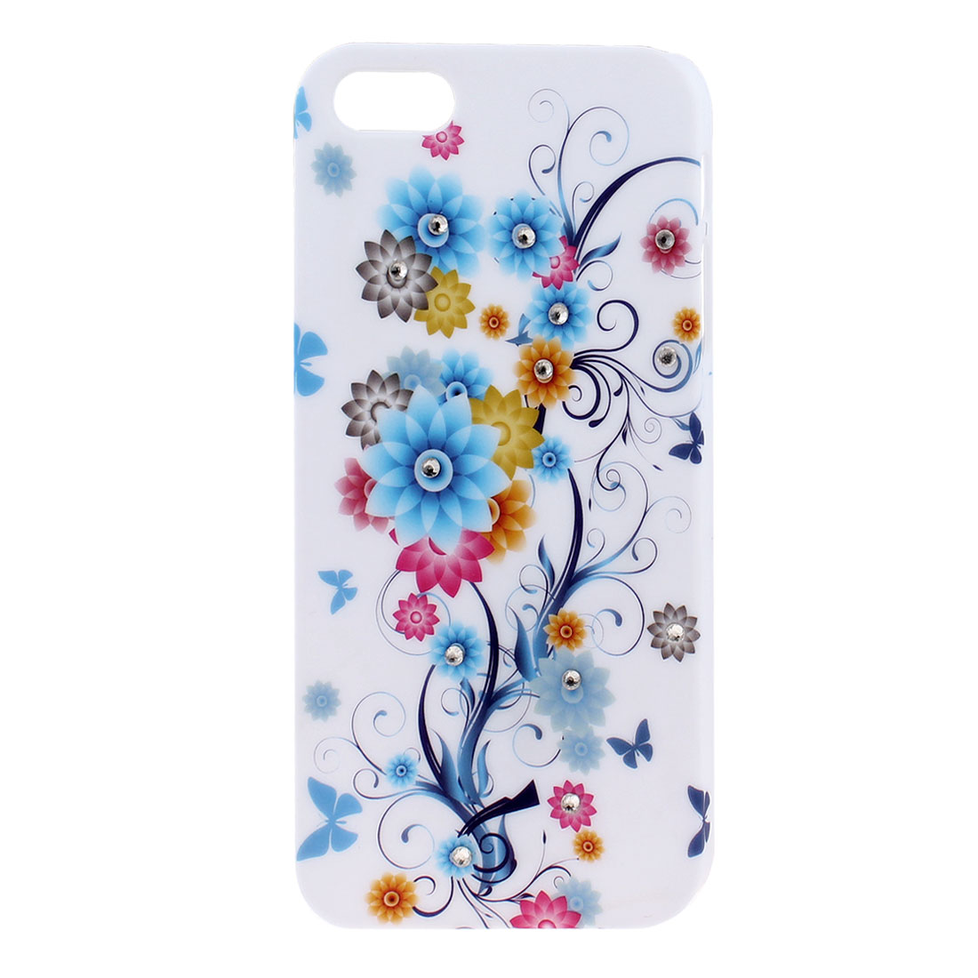 Glittery Rhinestone Decor Flower Back Case Cover Shell White for iPhone 5 5G