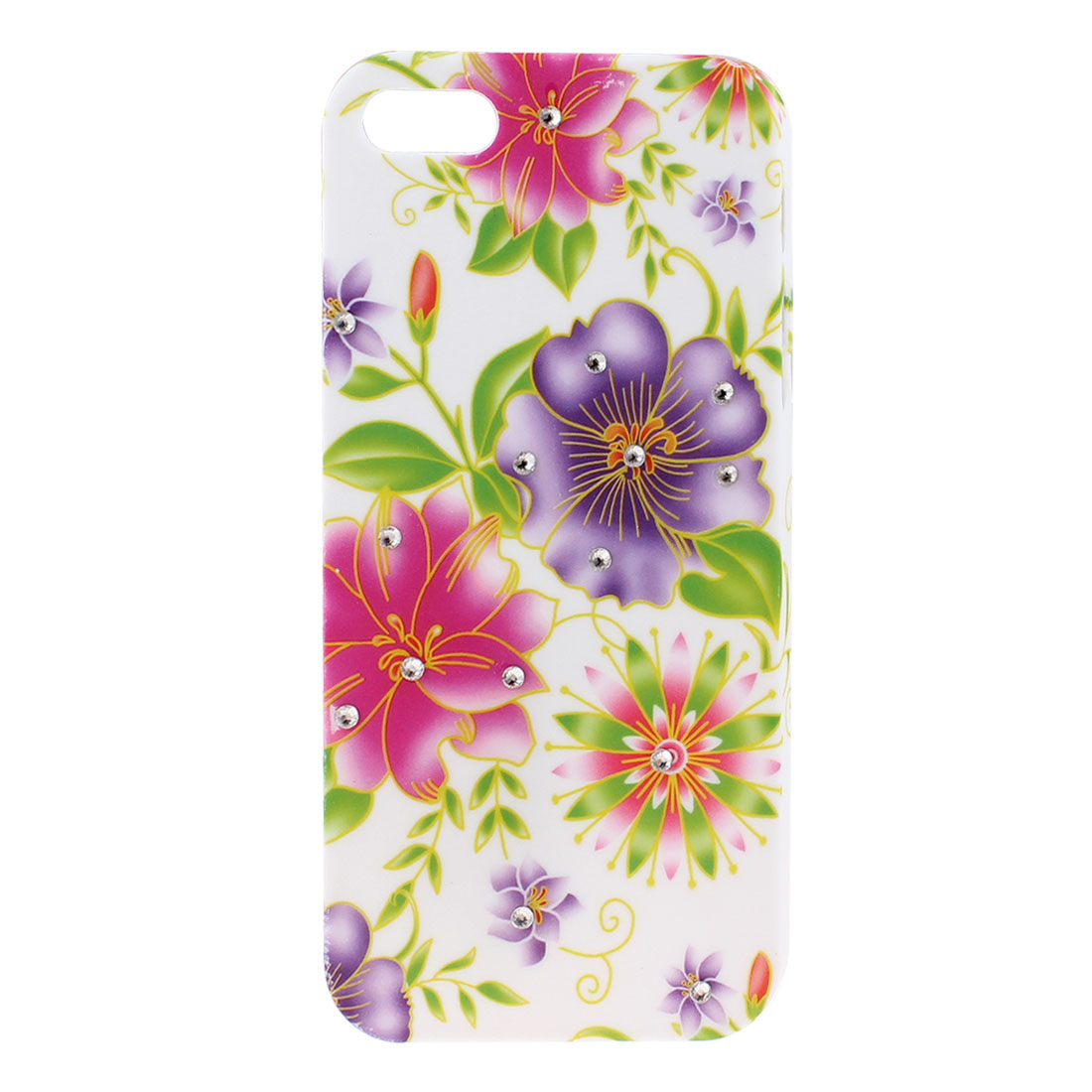 Glitter Rhinestone Inlaid Multicolor Flower Back Case Cover White for iPhone 5 5G