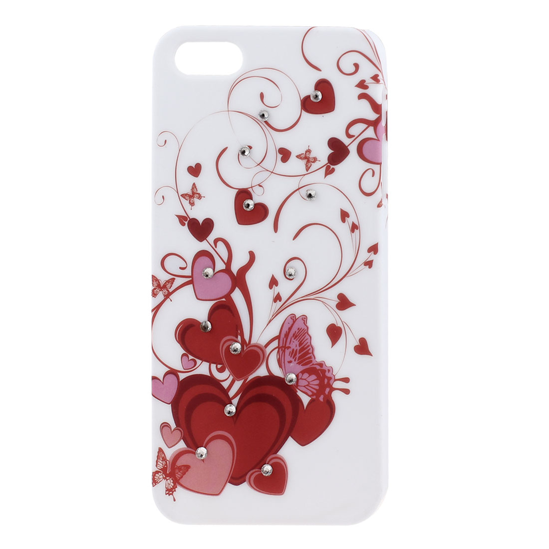 Rhinestone Decor Red Heart Hard Back Case Cover Shell Off White for iPhone 5 5G