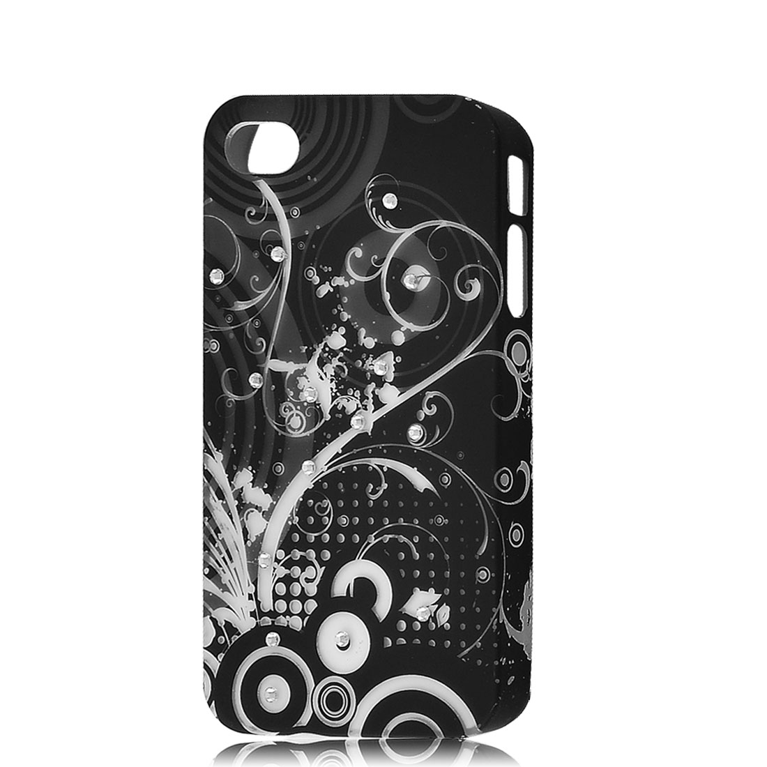 Black Circle Pattern Faux Rhinestones Decor Back Case for iPhone 4 4G 4GS 4S