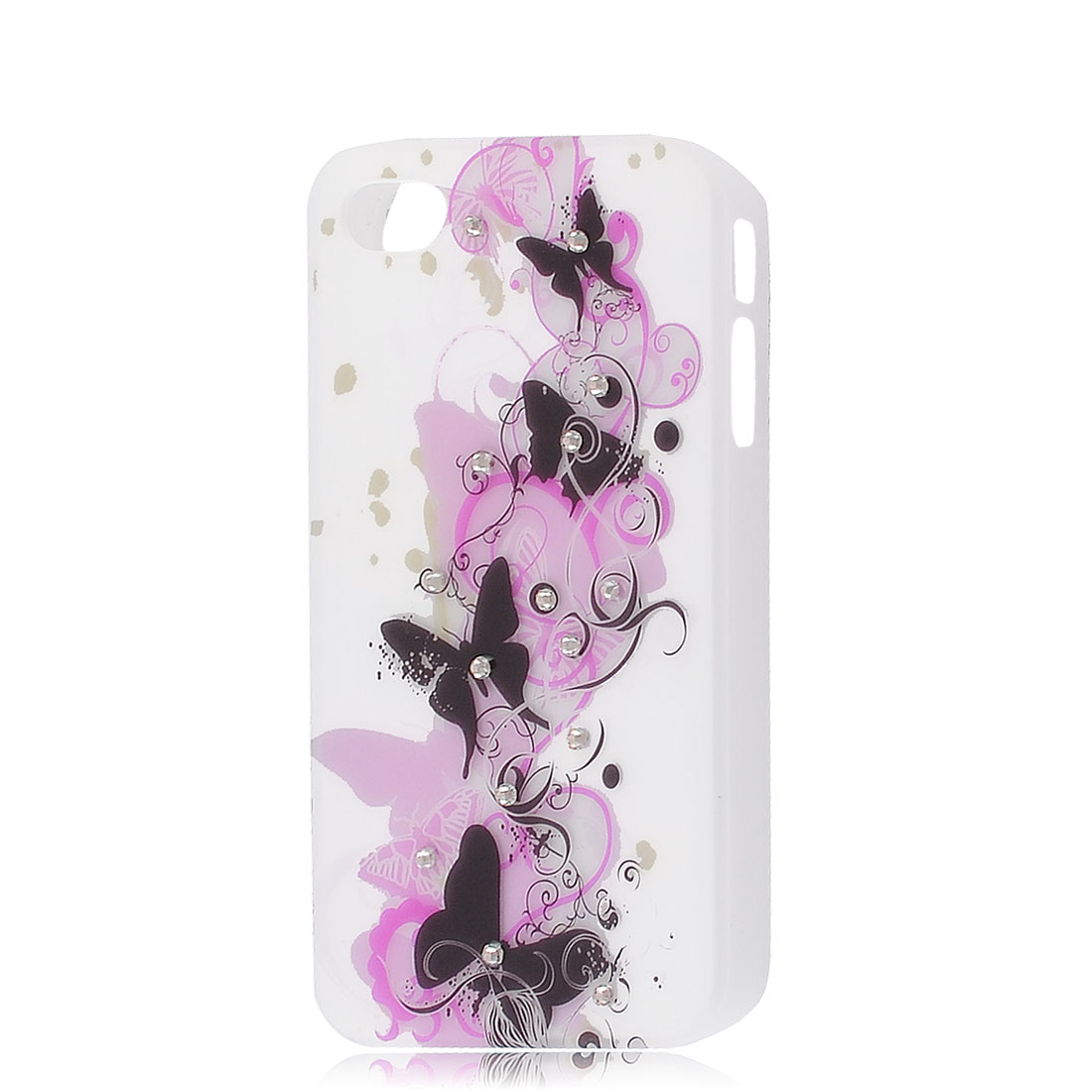 Butterfly Pattern Rubber Coated Plastic Back Cover for iPhone 4 4G 4GS 4S