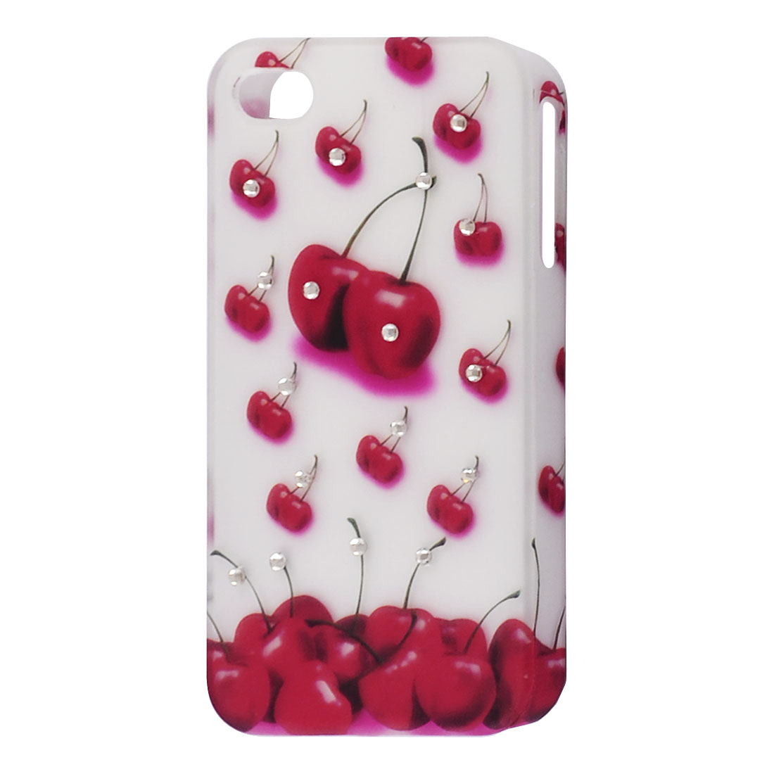 Cherry Pattern Faux Rhinestones Decor Plastic Back Cover for iPhone 4 4G 4GS 4S