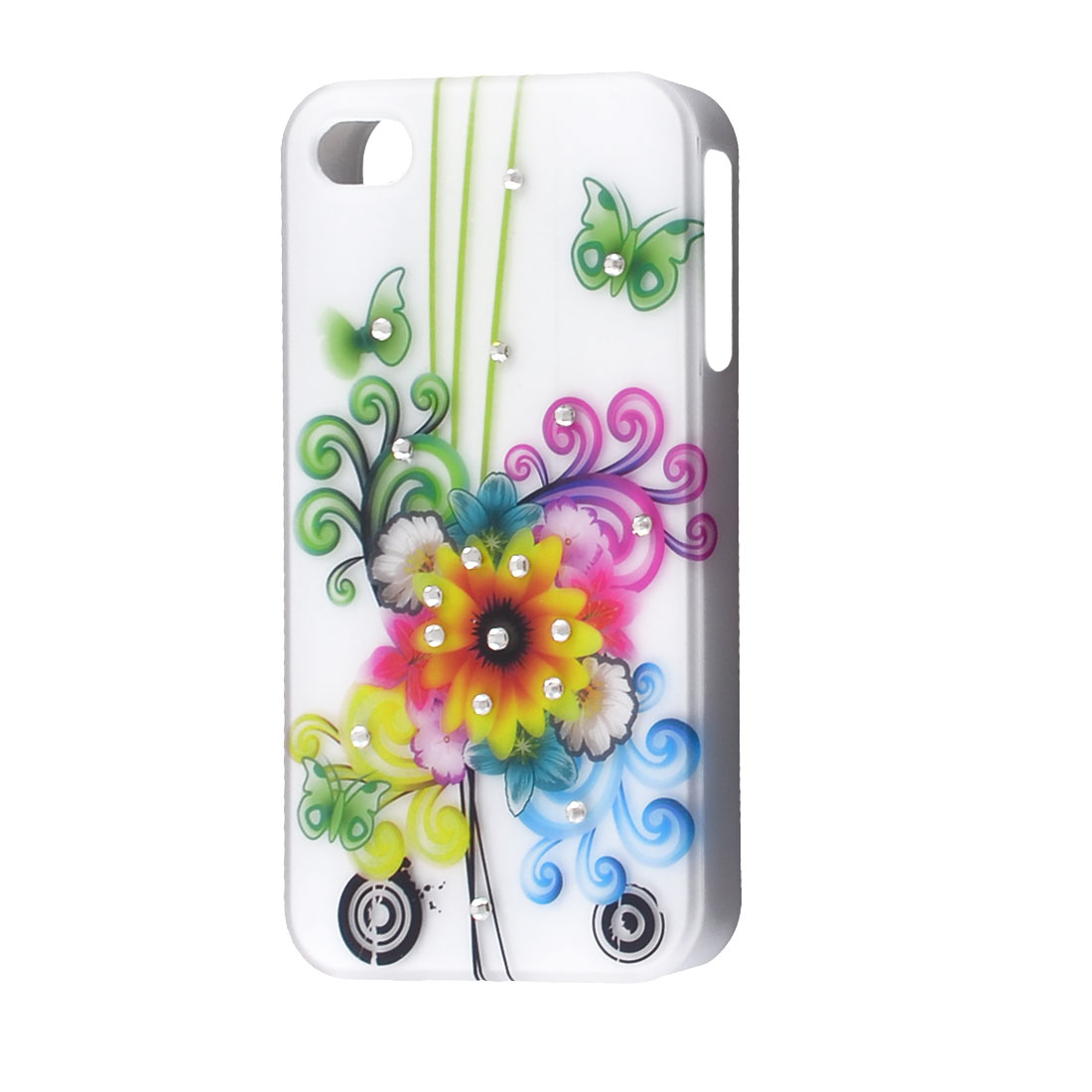 Multicolor Swirl Floral Pattern Hard Plastic Back Cover for iPhone 4 4G 4GS 4S