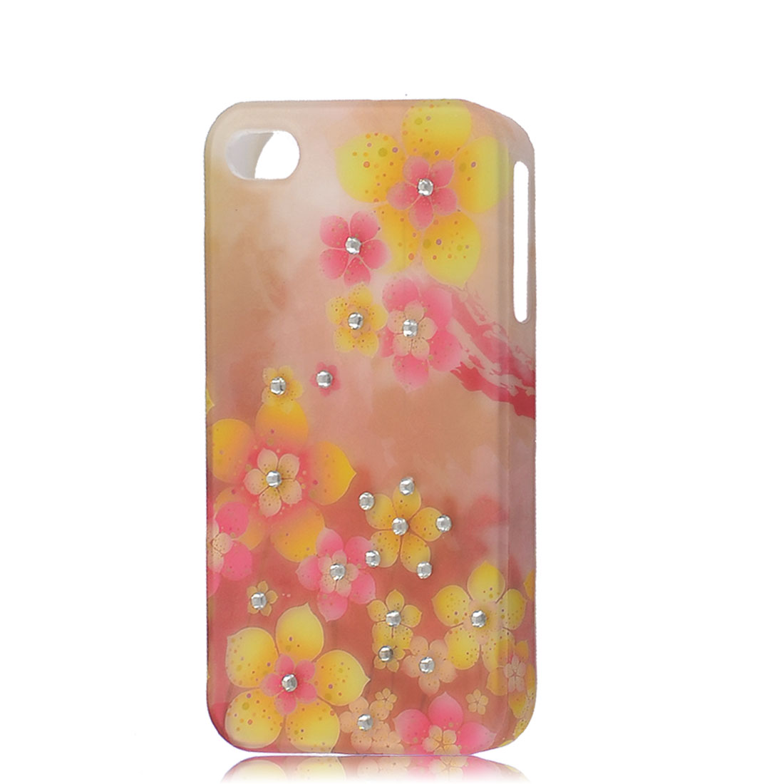 Multicolor Floral Printed Rubber Coated Back Cover for iPhone 4 4G 4GS 4S