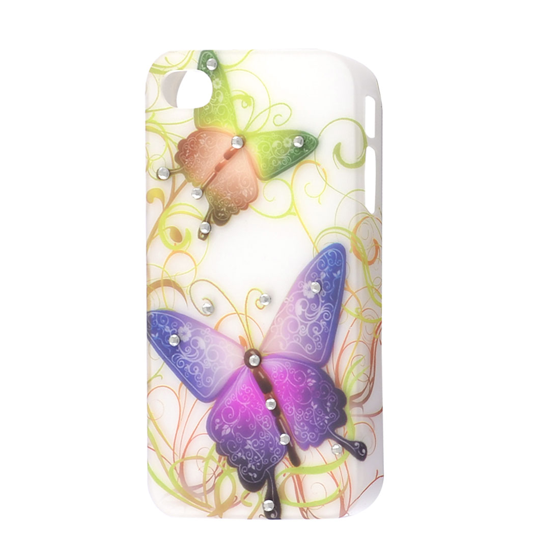 Butterfly Pattern Faux Rhinestones Decor Back Case for iPhone 4 4G 4GS 4S