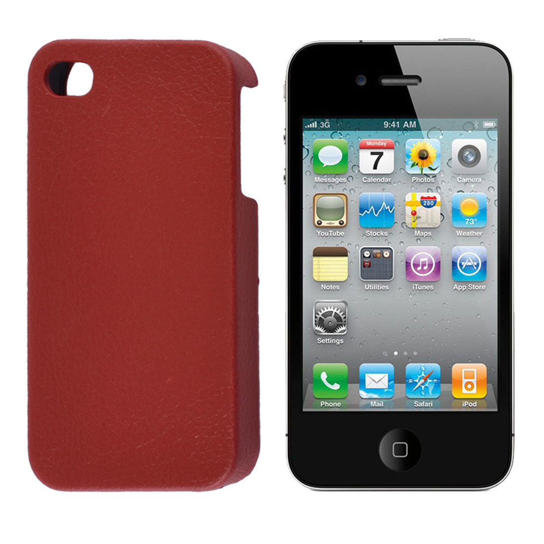 Red Faux Leather Coated Leechee Pattern Back Case for iPhone 4 4G 4GS 4S