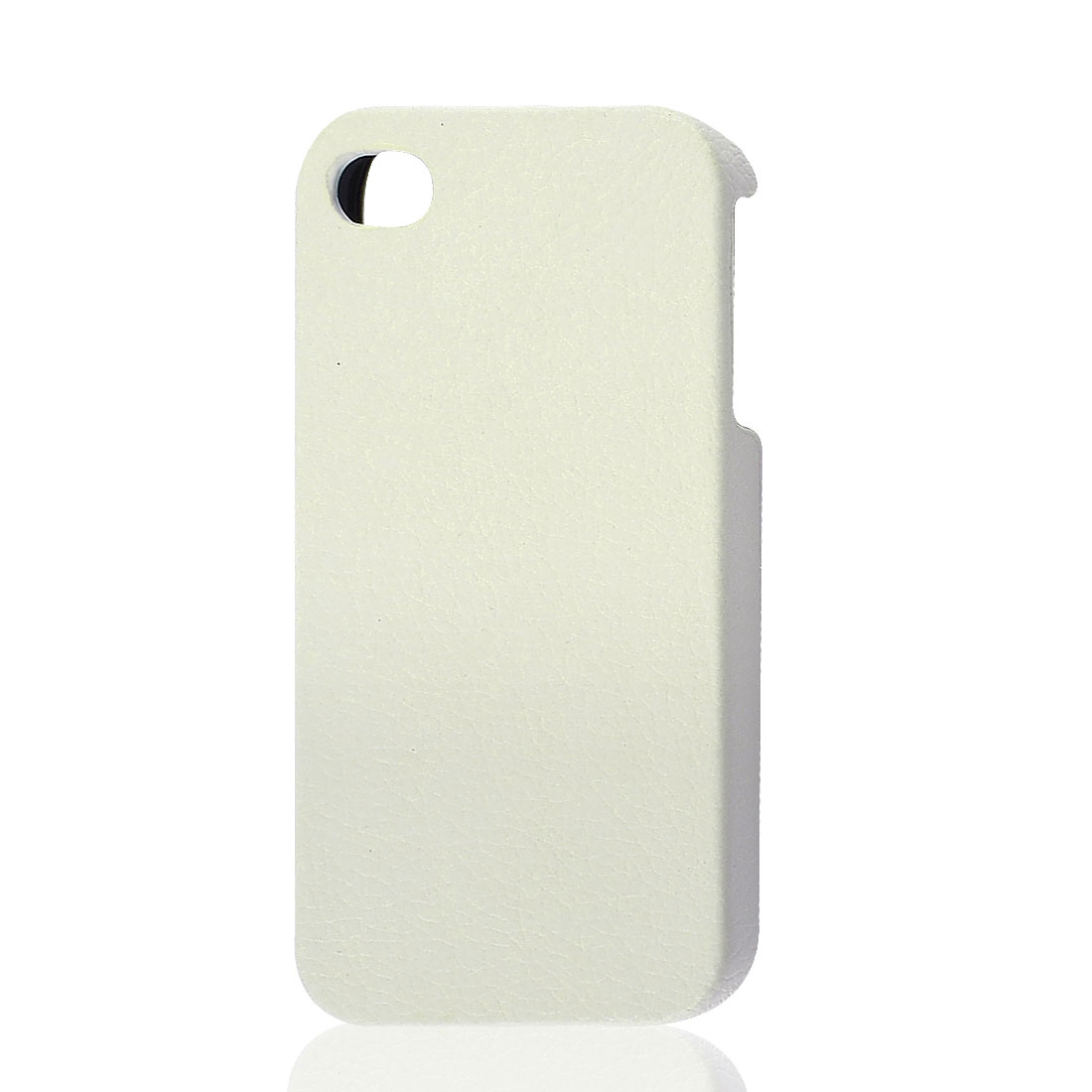White Faux Leather Coated Back Cover Shell Case Protector for iPhone4 4G 4GS 4S