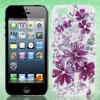 Glitter Rhinestone Decor Violet Flower Hard Back Case Cover White for iPhone 5 5G