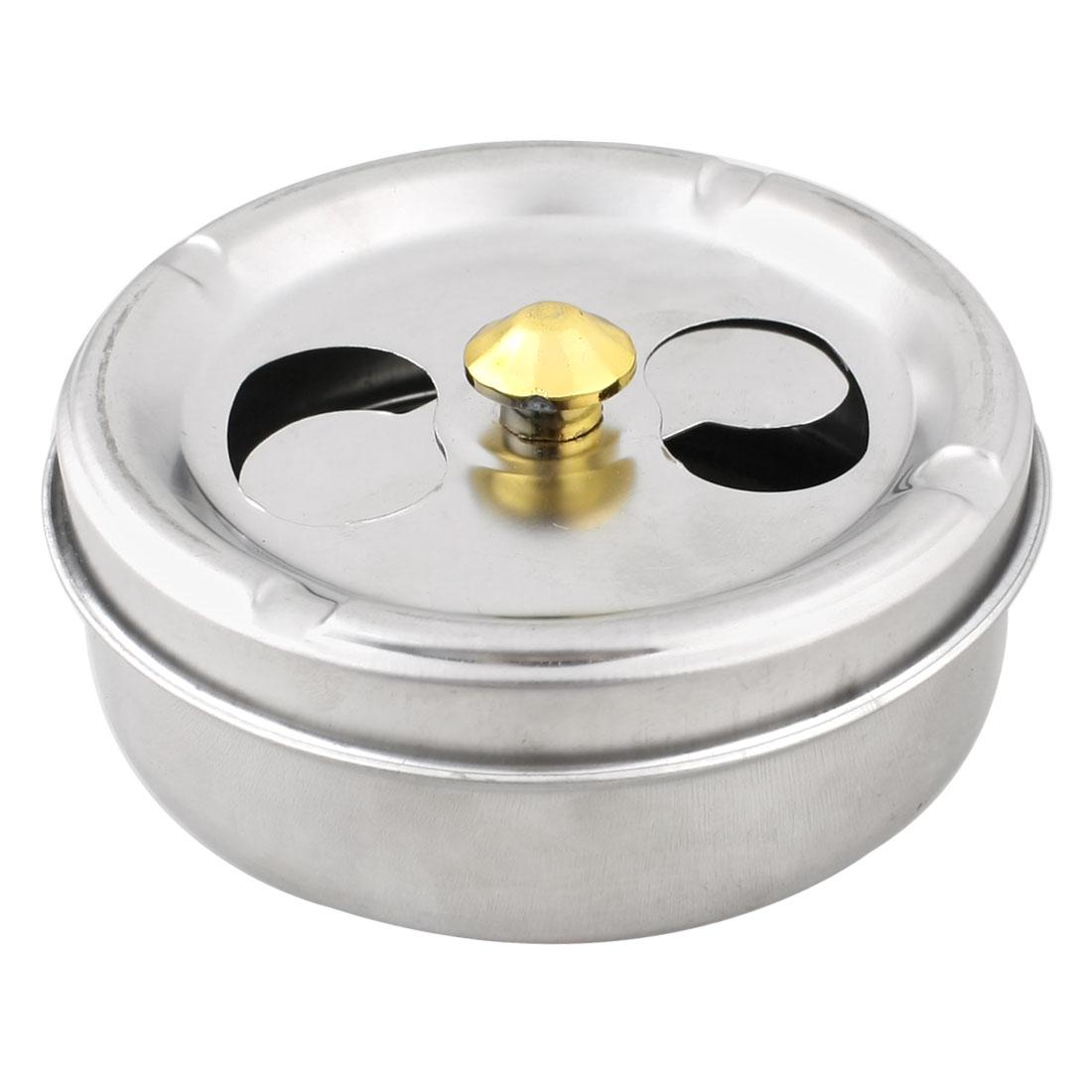 Metal Rotating Lid 10cm Dia Cylinder Shaped Cigaretter Holder Ashtray