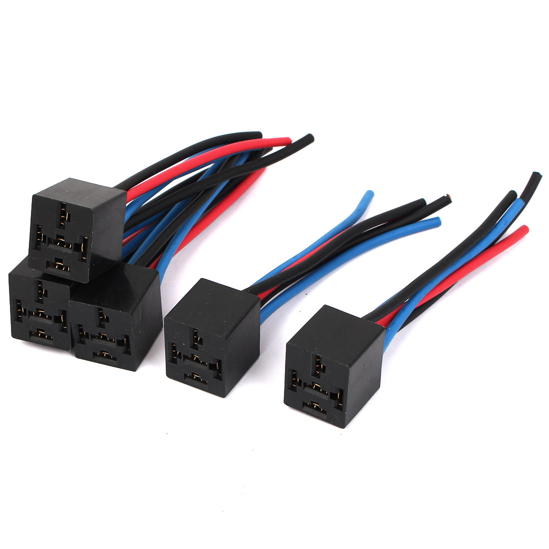 5 Pcs 5 Pin Wires Relay Socket Harness Connector DC 12V for Car Auto
