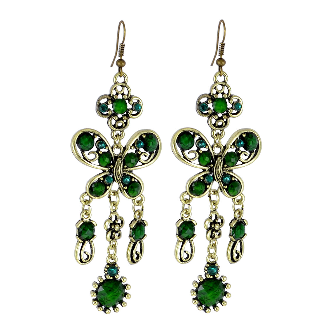 Green Plastic Beads Accent Butterfly Shaped Dangling Ear Hook Earrings Pair
