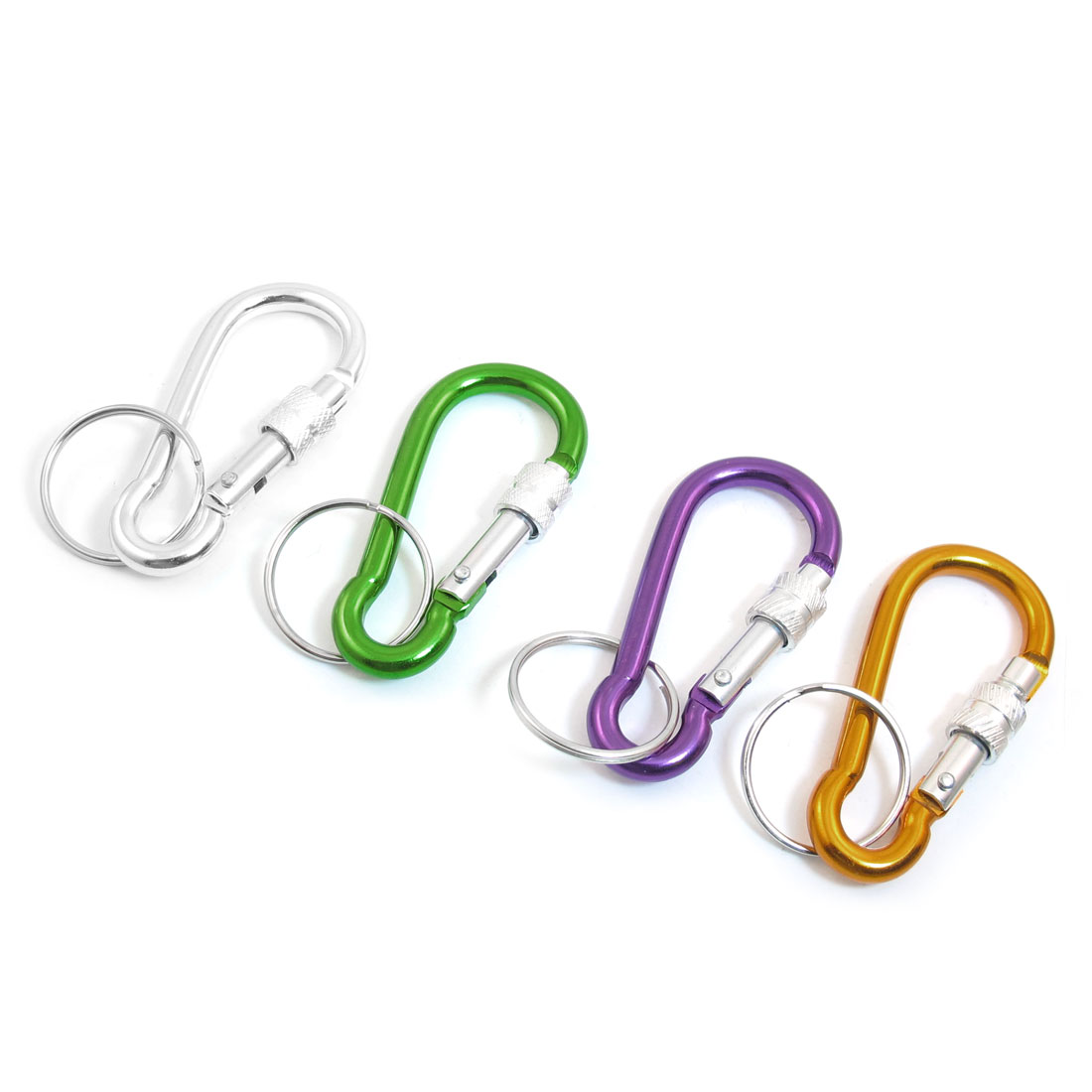 4PCS Assorted Colors Aluminum Alloy Spring Loaded Gate Locking Keyring Carabiner