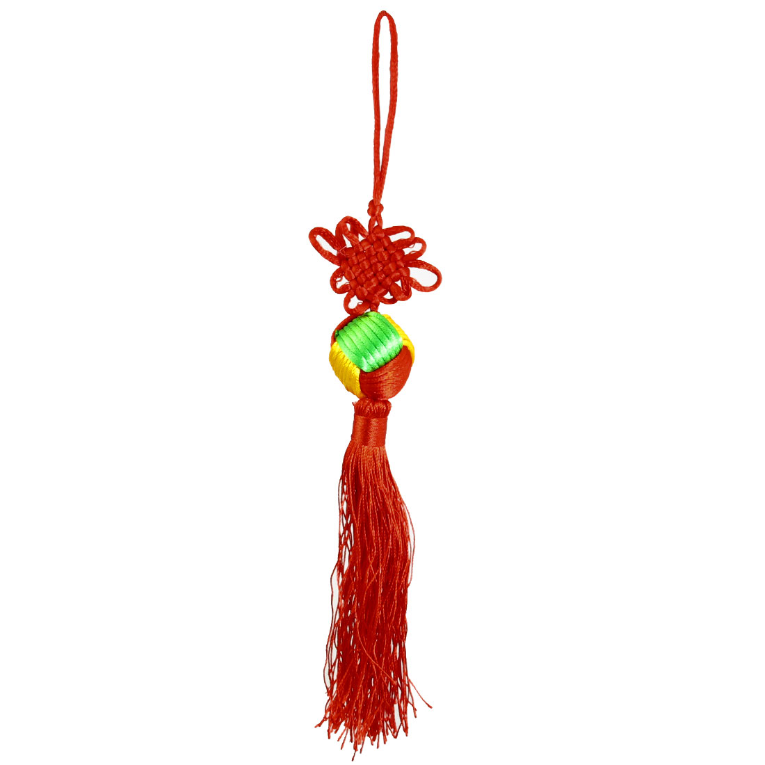 Tricolor Ball Tassels Detail Chinese Knot Vehicles Festival Ornament Red