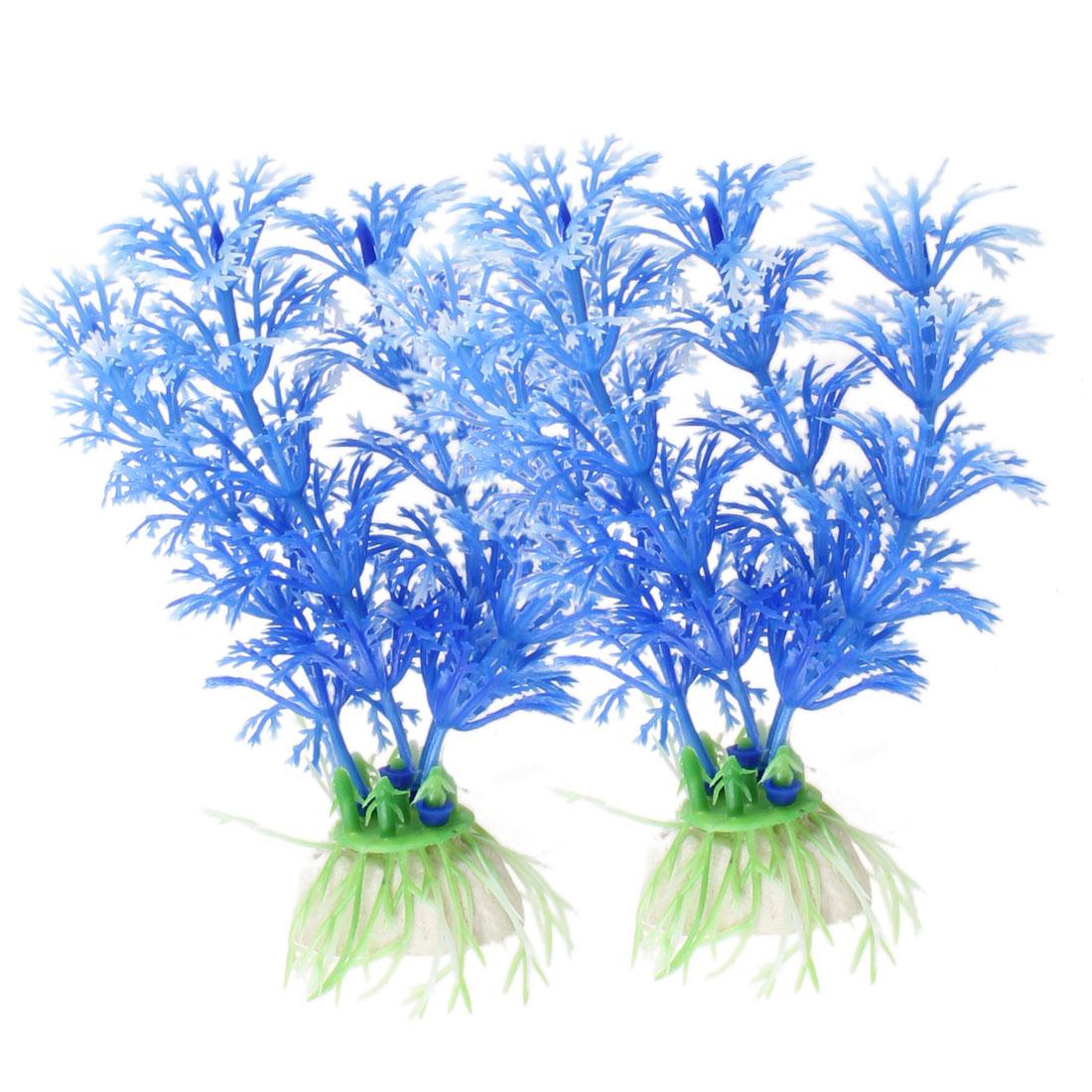 "4.3"" Height Blue Plastic Snowflake Aquatic Grass for Aquarium Fish Tank 2 Pcs"