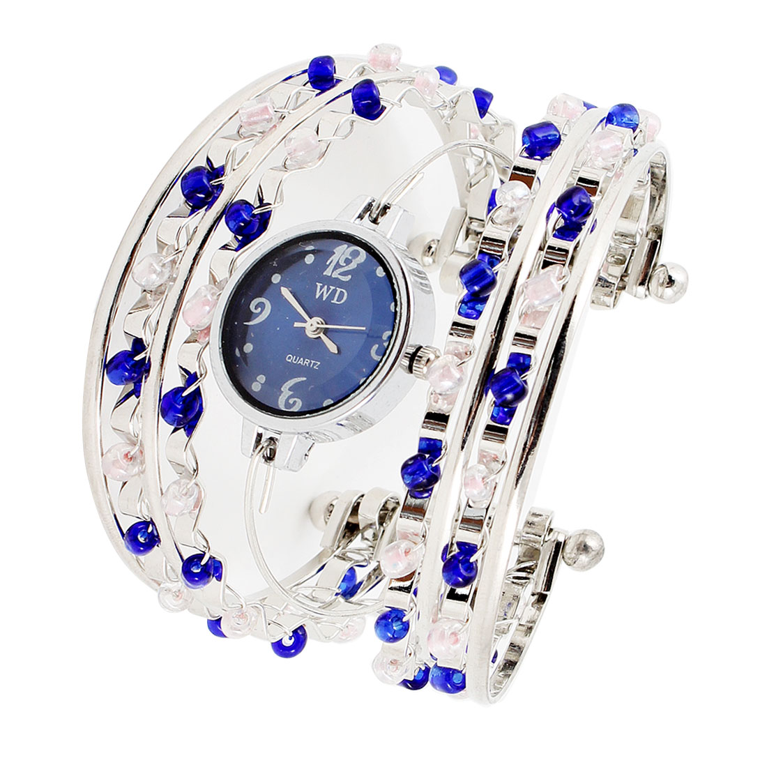 Arabic Number Dial Blue Pink Beads Decoration Half Open Bracelet Watch for Women