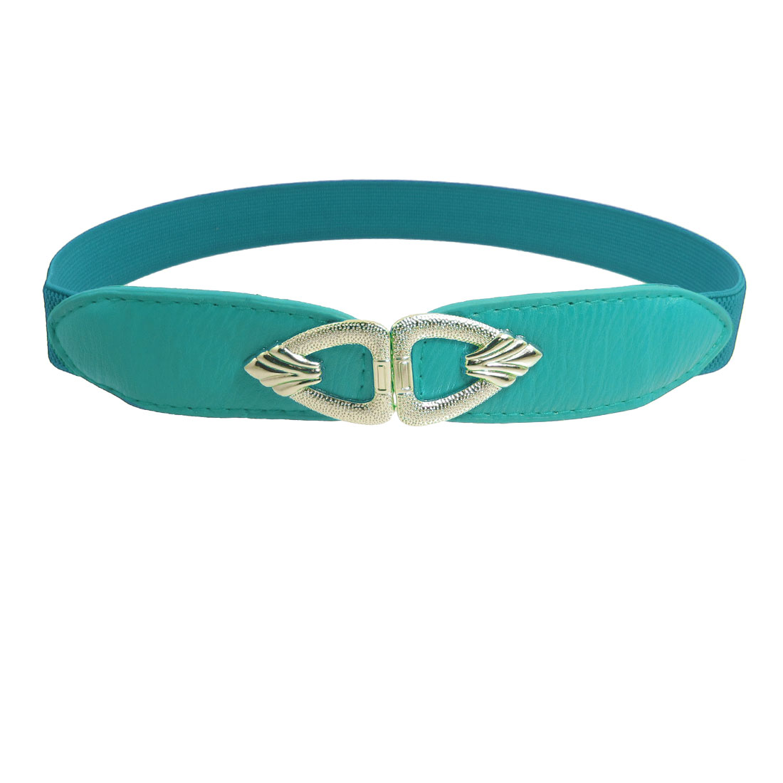Lady Metal Interlock Buckle 2.5cm Wide Stretch Band Thin Waist Belt Teal Green