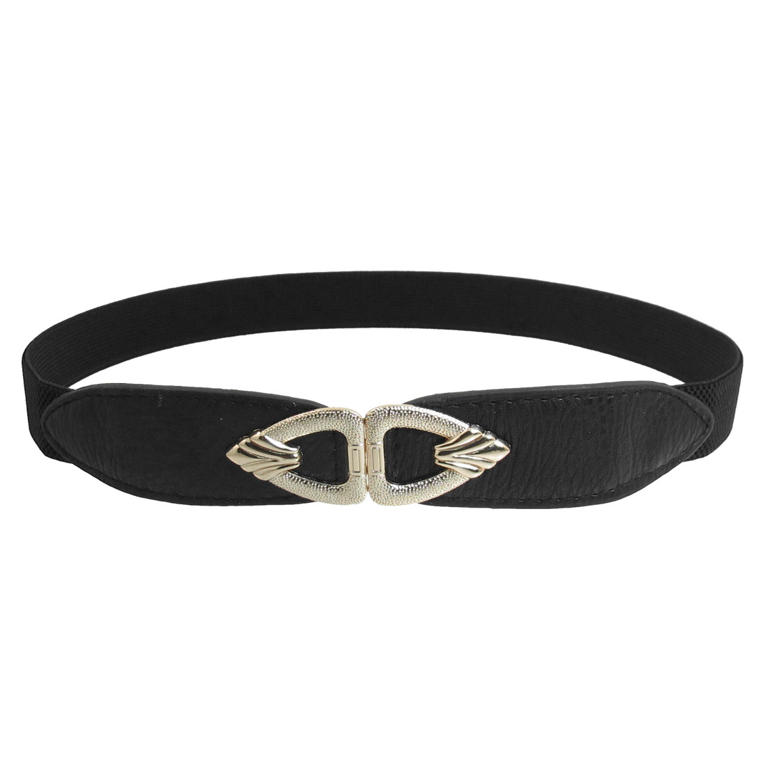 Gold Tone Interlock Buckle 2.5cm Wide Elastic Thin Waistband Belt Black for Lady