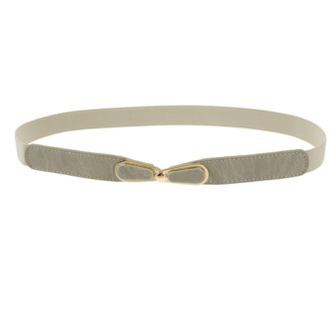 Faux Leather Interlock Buckle 8 Shape Elastic Waist Belt Khaki for Lady Girls