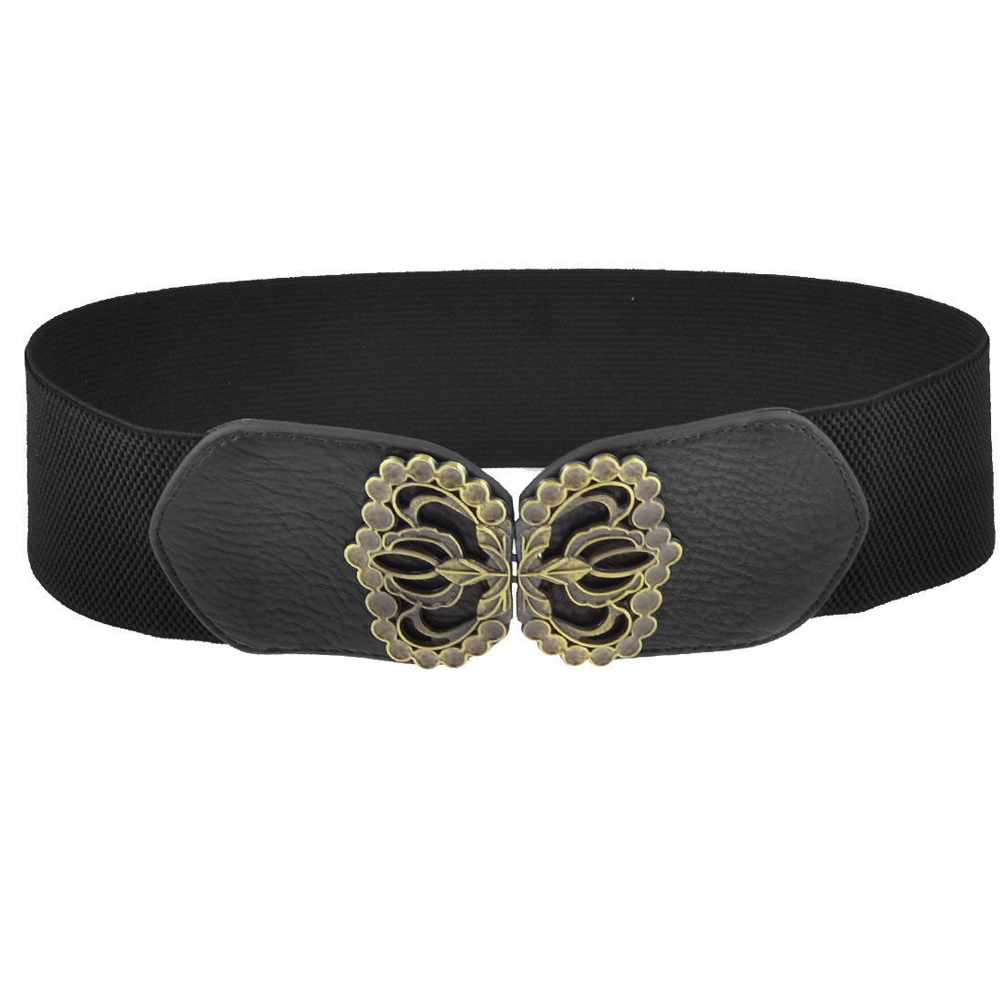 Butterfly Interlocking Buckle Faux Leather Stretch Cinch Waist Belt Black for Ladies