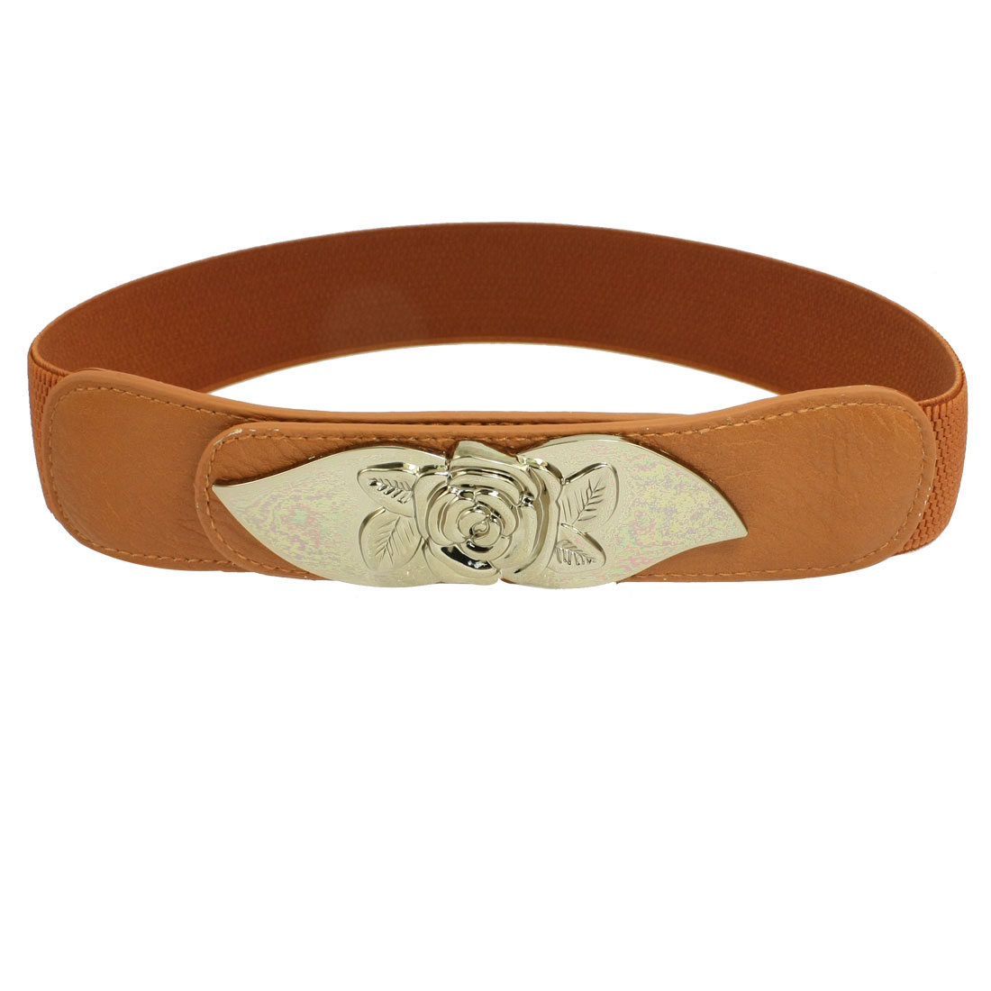 Flower Press Buckle 3.5cm Wide Faux Leather Front Stretchy Waist Belt Brown