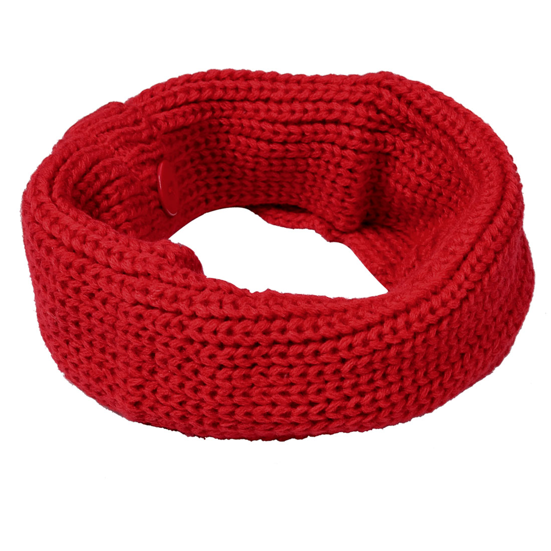 Red Stretchy Button Decor Children Winter Warmmer Knitting Tube Scarf
