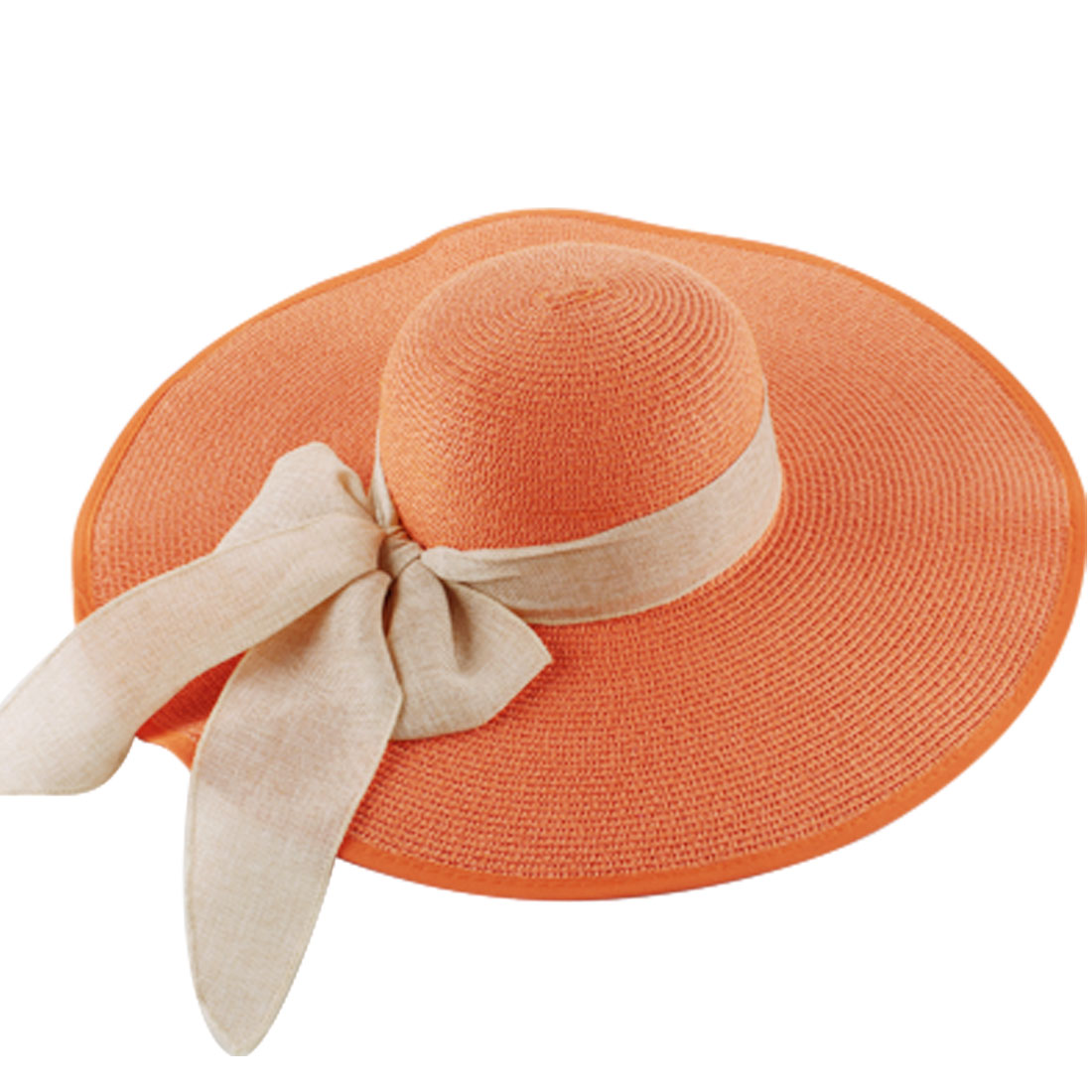 Ladies Orange Wide Brim Removable Self Tie Bow Casual Straw Hat