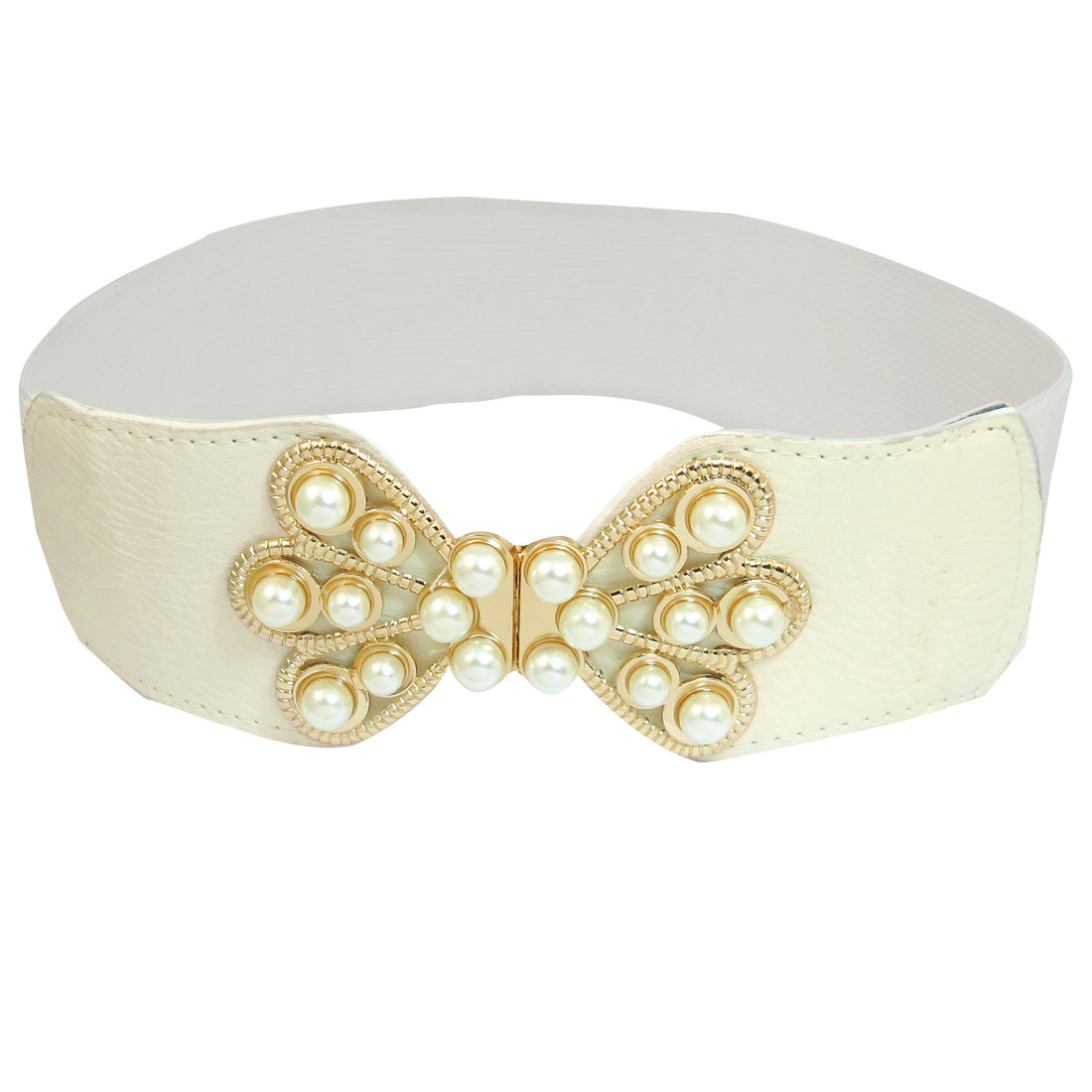Women Plastic Beads Inlaid Bowknot Interlocking Buckle Elastic Waist Belt White
