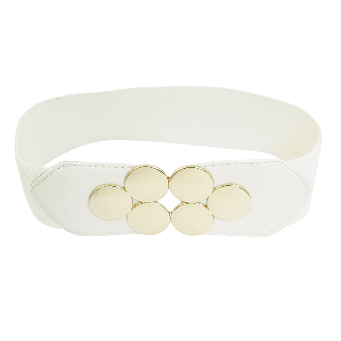 6-Round Detail Interlocking Buckle Stretchy Belt Waistband White for Ladies