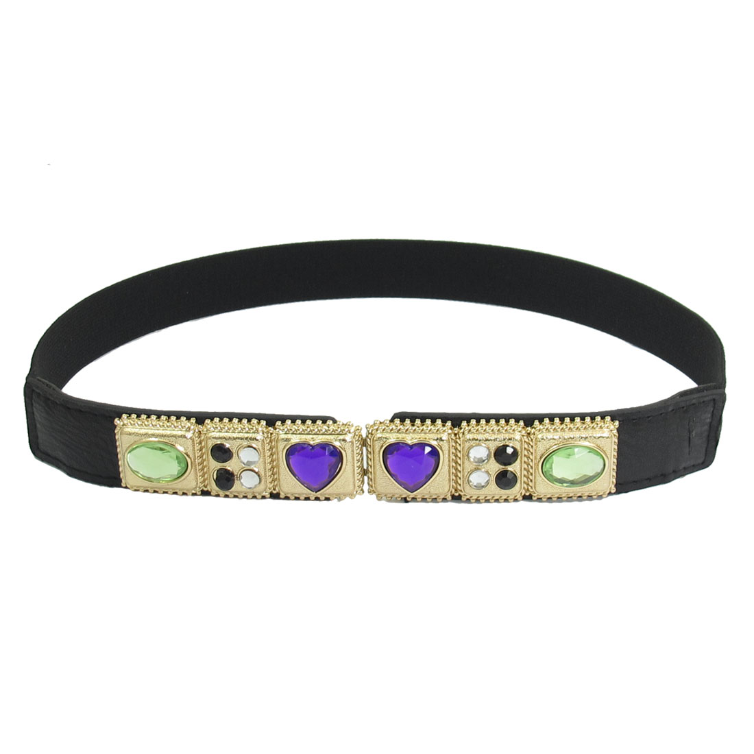 Women Rhinestone Inlaid Metal Interlocking Buckle Stretchy Waist Blet Black