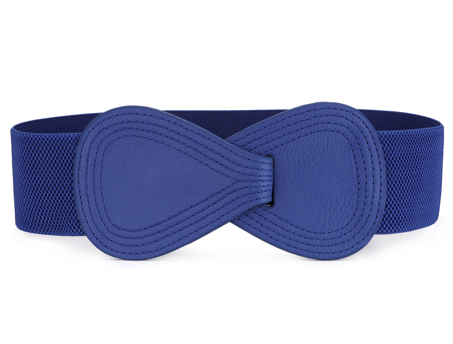 Lady Number 8 Sign Interlocking Buckle Stretchy Waist Belt Waistband Corset Band Blue