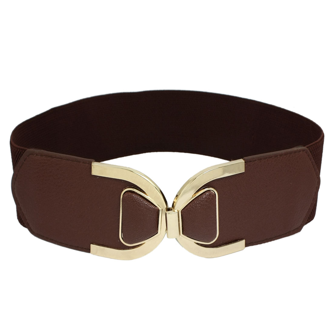 Lady U Shaped Interlocking Buckle Elastic Waist Band Cinch Belt Coffee Color