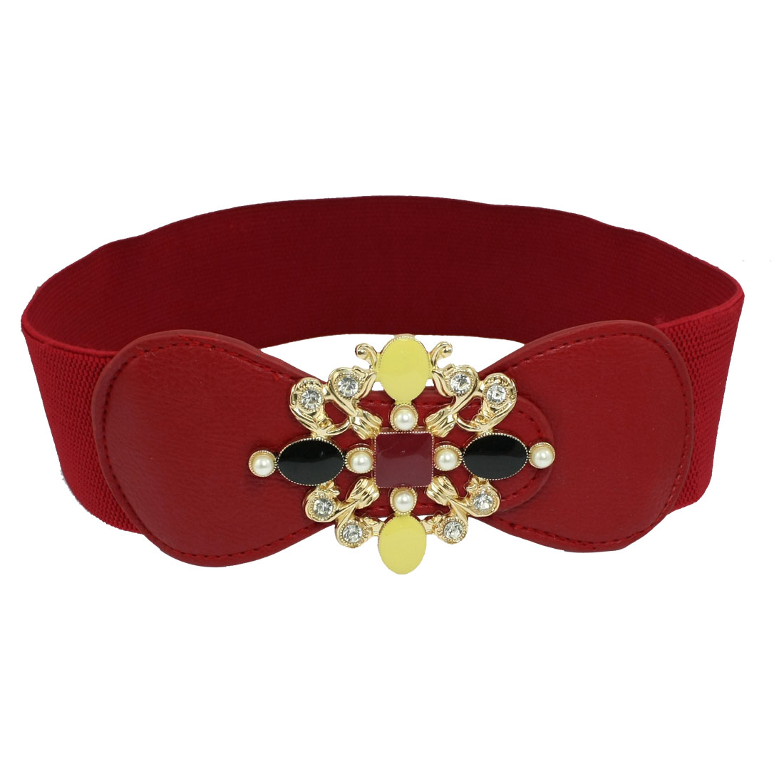 Press Buckle Rhinestone Detail Stretchy Waistband Red for Ladies
