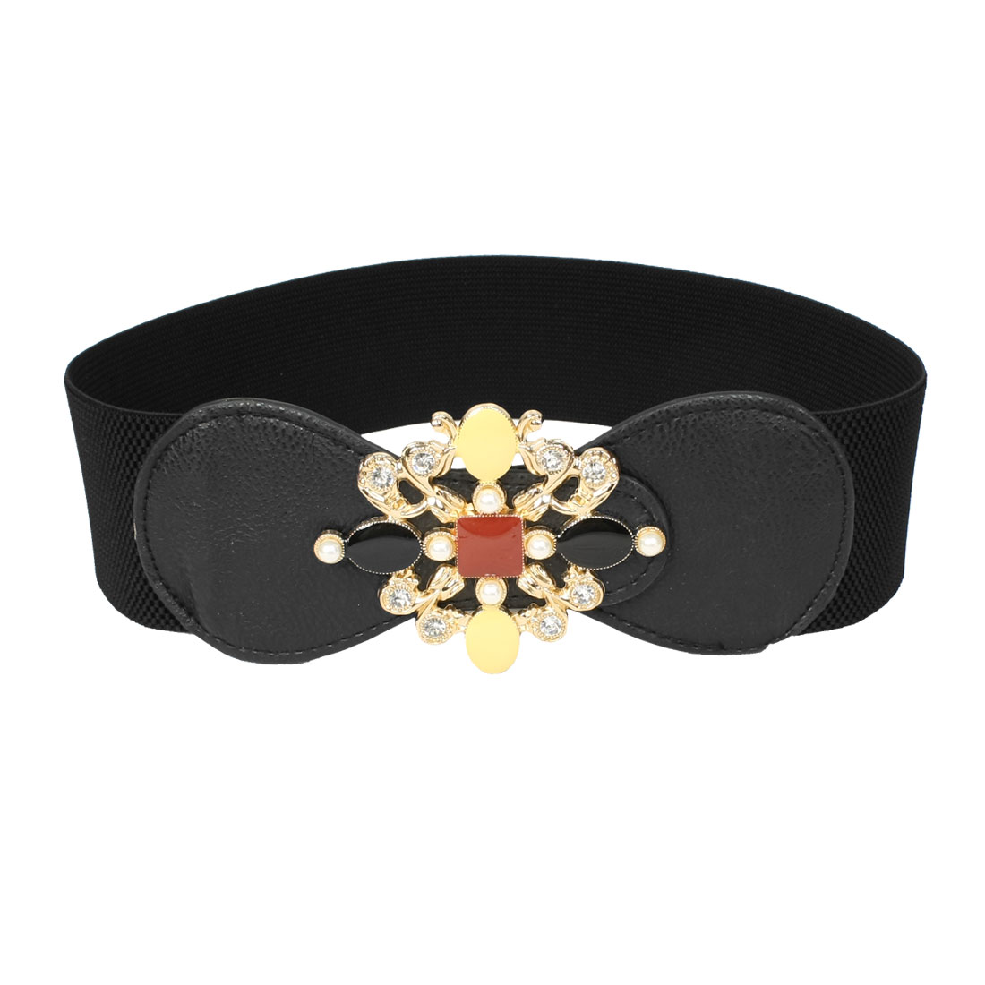Black One Size Textured Pattern Stretchy Waistband Belt for Ladies