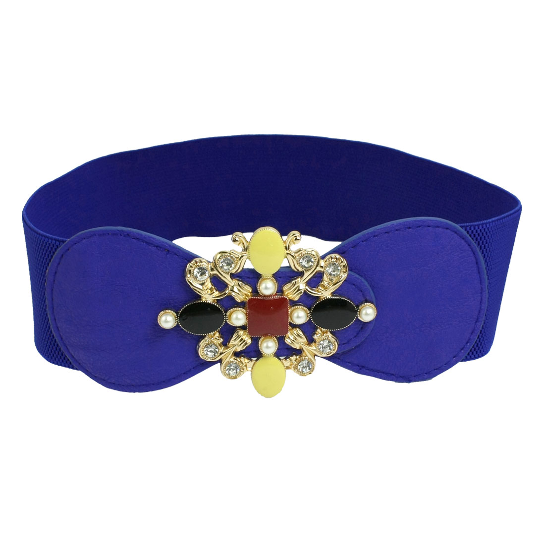 Blue Rhinestone Detail Faux Leather Decor Stretchy Waist Belt for Ladies