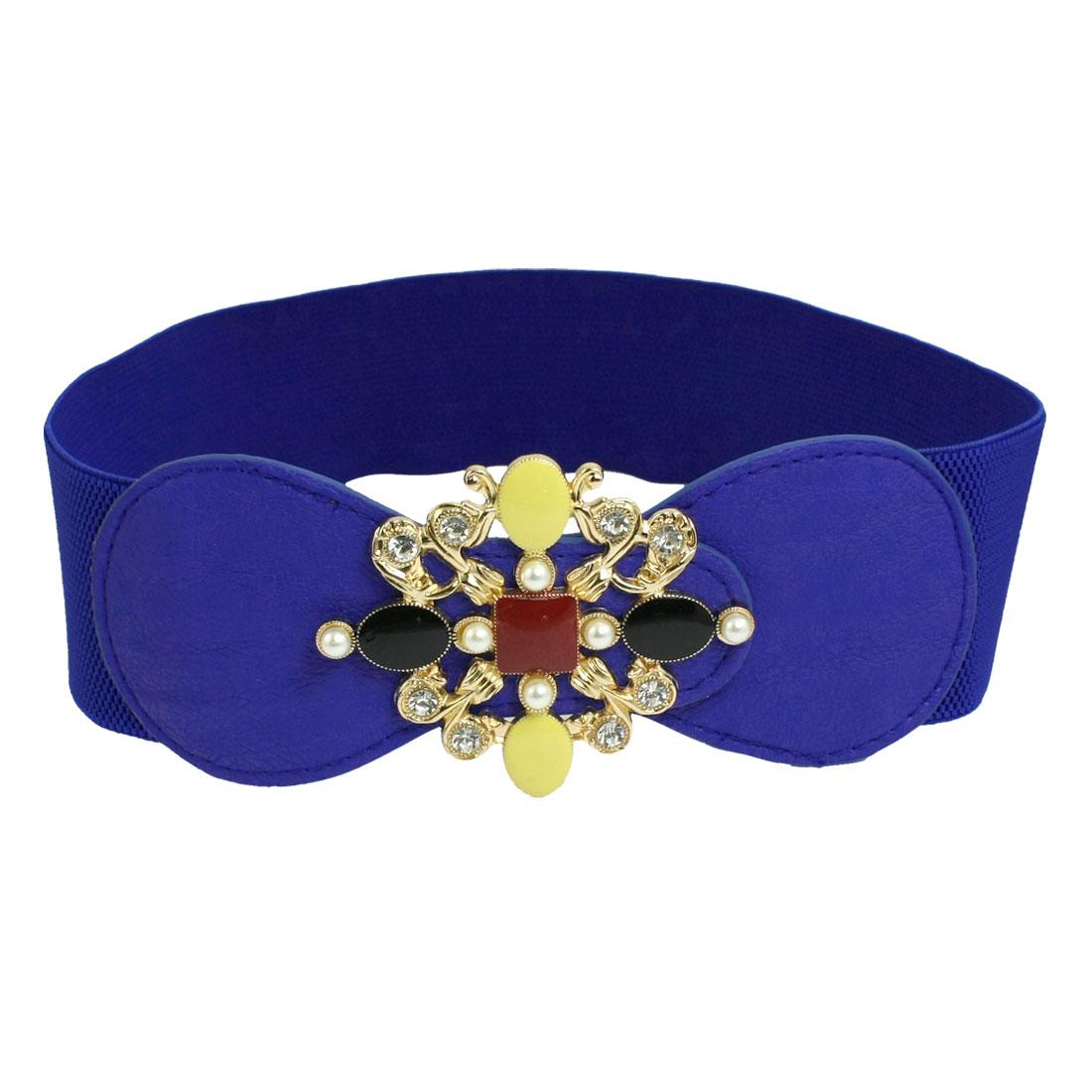 Blue Rhinestone Detail Faux Leather Decor Stretchy Waist Belt for Ladies