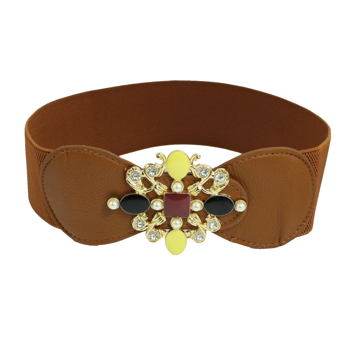 Brown Faux Pearl Detail 6cm Width One Size Elastic Waist Belt for Women